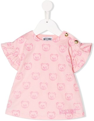 MOSCHINO BAMBINO Logo Bear Embroidered Dress