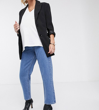 Asos DESIGN Maternity recycled Florence authentic straight leg jeans in pretty mid stonewash blue with side bump