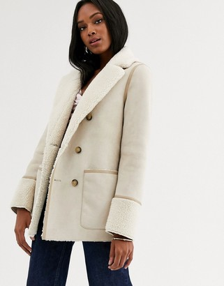 Urban Code Urbancode reversible shearling coat-Stone