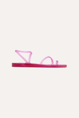Ancient Greek Sandals Eleftheria Braided Glittered Rubber Sandals - Fuchsia
