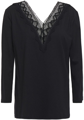 Sandro Crochet-trimmed Cotton And Modal-blend Jersey Top