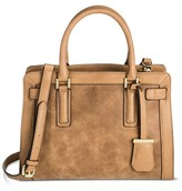 Women's Faux Leather Med Belted Tote with faux suede detail - Merona