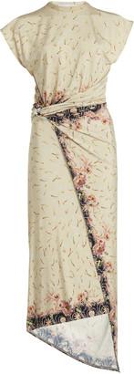 Paco Rabanne Printed Stretch-Crepe Wrap-Effect Midi Dress