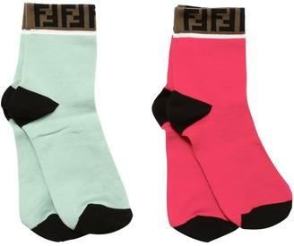 Fendi Logo Cotton Jacquard Knit Socks