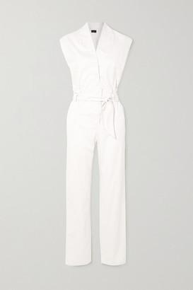 RtA Cynthia Wrap-effect Cotton-twill Jumpsuit - White