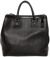 Dolce & Gabbana Double Zip Grained Leather Shopping Bag