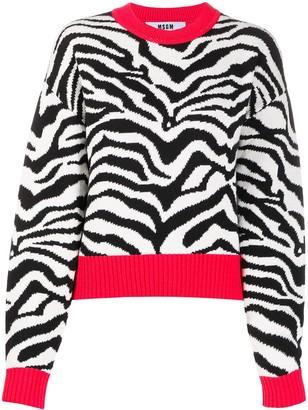 MSGM Zebra Knit Slouchy Jumper