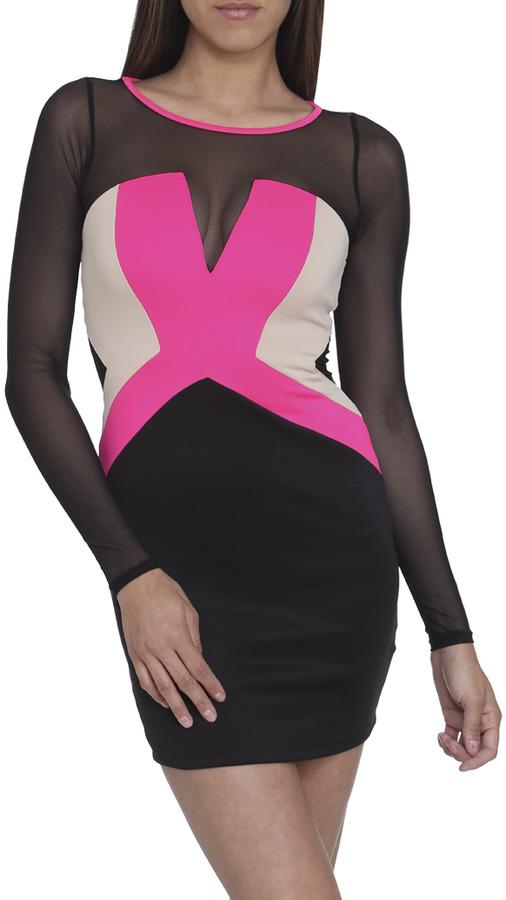 Arden B Colorblock Mesh Mini Dress