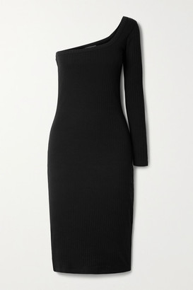Ninety Percent Net Sustain One-sleeve Ribbed Organic Cotton-blend Midi Dress - Black