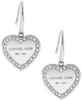 Michael Kors Logo Crystal Heart Drop Earrings