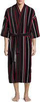 Neiman Marcus Velour Striped Kimono Robe, Black