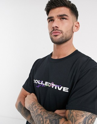 New Look oversized collective print t-shirt in black