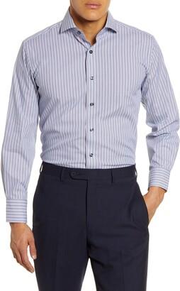 Lorenzo Uomo Trim Fit Stretch Stripe Dress Shirt