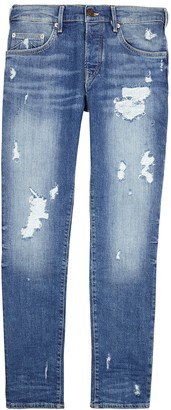 True Religion Rocco blue distressed slim-leg jeans