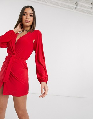 Club L London Club L slinky wrap dress with plunge front in red