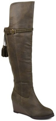 Brinley Co. Womens Extra Wide Calf Over-the-Knee Wedge Boot