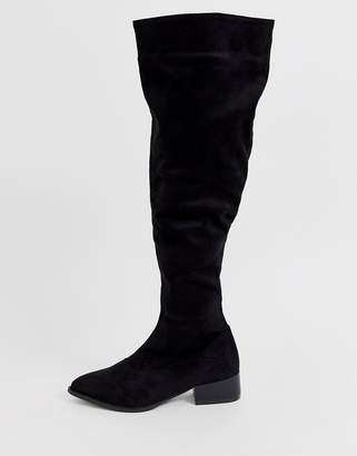 Lost Ink slouch over the knee boot in black