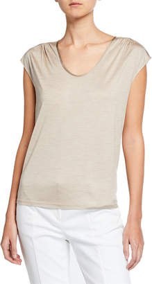 St. John Silk Jersey Scoop-Neck Tee