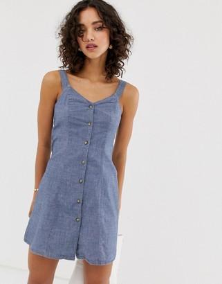 Vero Moda chambray button through cami dress-Blue