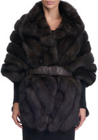 Maurizio Braschi Chevron Sable Fur Cape with Leather Belt