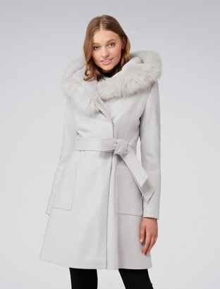 Forever New Josephine Faux Fur Lined Coat - Soft Grey - 6