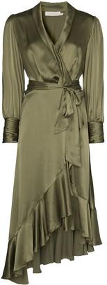 Zimmermann Balloon-Sleeve Asymmetric Hem Wrap Dress
