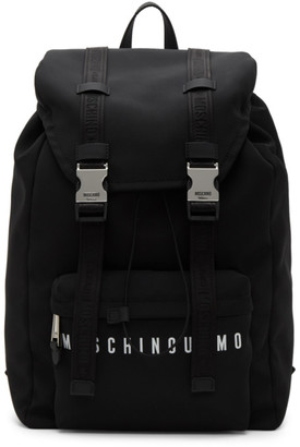 Moschino Black Canvas Backpack