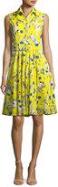 Samantha Sung Gigi Sleeveless Poppy-Print Shirtdress