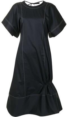 Eudon Choi Contrast-Stitching Short-Sleeve Dress