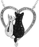 JCPenney FINE JEWELRY ASPCA Tender Voices S CT. T.W. White & Color-Enhanced Black Diamond Cat Pendant Necklace