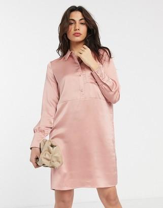 Vila satin shirt dress in rose tan
