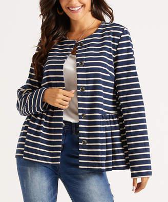Suzanne Betro Weekend Women's Non-Denim Casual Jackets 101NAVY/OATMEAL - Navy & Oatmeal Stripe Button-Up Peplum Jacket - Women