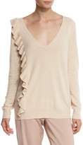 Elizabeth and James Odell V-Neck Ruffle-Trim Sweater, Champagne