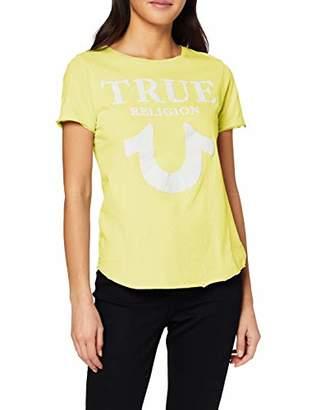 True Religion Women's Crew Tshirt Logo Puffy Print T-Shirt,16 (Size: X-Large)