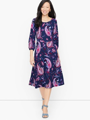 Talbots Knit Jersey Winding Paisley Dress