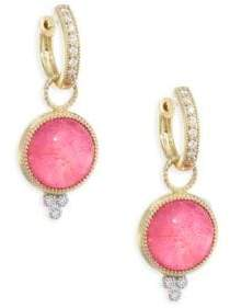 Jude Frances Provence Diamond, Mother-of-Pearl & Dark Rhodolite Earring Charms