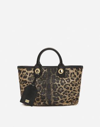 Dolce & Gabbana Small Capri Shopping Bag In Jacquard Raffia With Leopard Print