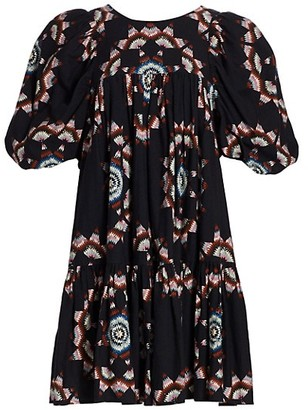 Sea Lindstrom Short Puff-Sleeve Print Shift Dress