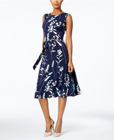 Charter Club Petite Floral-Print Belted Fit and Flare Dress, Only at Macy's