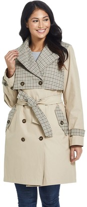 Ellen Tracy Women's Plaid Trench Coat