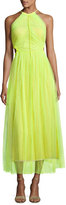 Jason Wu Twisted-Back Shadow Floral Midi Dress, Neon Yellow