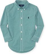 Ralph Lauren Gingham Cotton Poplin Sport Shirt, Green/White, Size 2-7