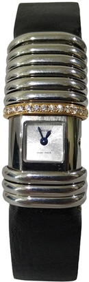 Cartier Silver Diamond Titanium Stainless Steel and Leather Gold Link Declaration Women's Wristwatch 16MM