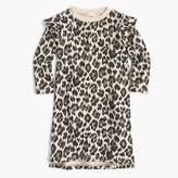J.Crew Girls' ruffle-trimmed long-sleeve dress in leopard