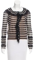 Jean Paul Gaultier Lace-Trimmed Striped Top