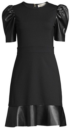 MICHAEL Michael Kors Contrast Puff-Sleeve Dress