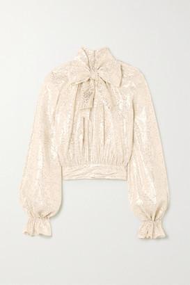 Reem Acra Pussy-bow Metallic Silk-blend Jacquard Blouse - Silver