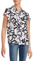 Kensie Tie-Dye Printed Short Sleeve Shirt