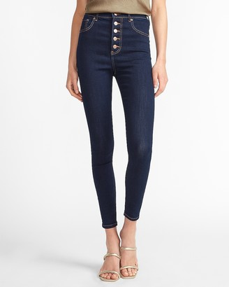 Express Super High Waisted Denim Perfect Button Fly Skinny Jeans