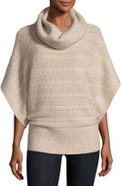 Neiman Marcus Cashmere Cable-Knit Poncho Sweater, Oatmeal